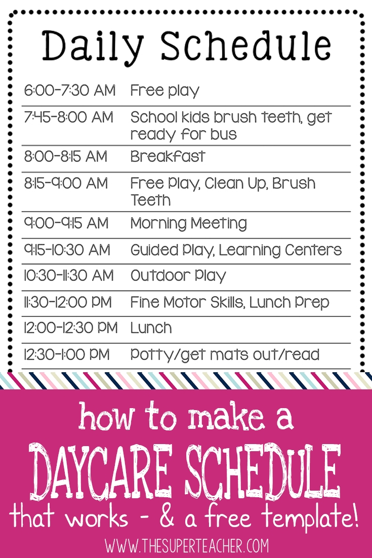 How To Make A Daycare Schedule That Works - And A Free Template in Free Preschool Template For Schedule