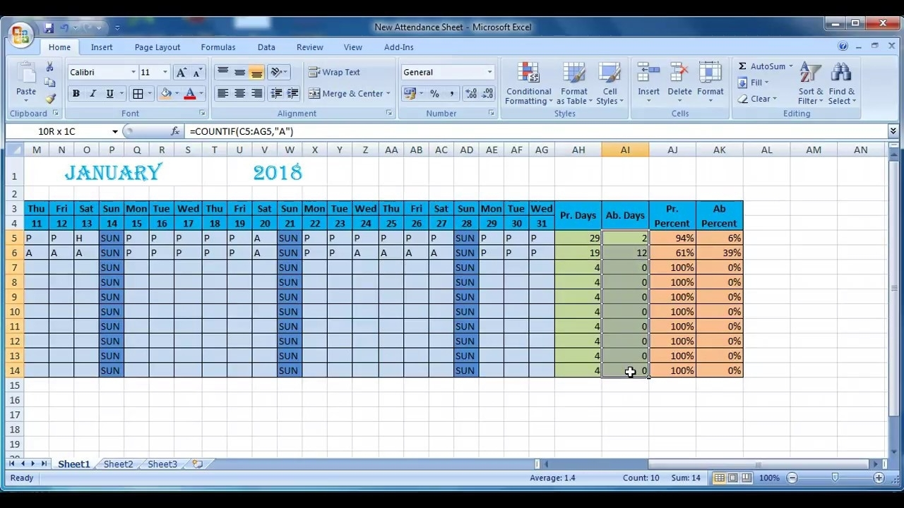 How To Make Attendance Sheet In Excel in How To Make Full Year Attendance Sheet