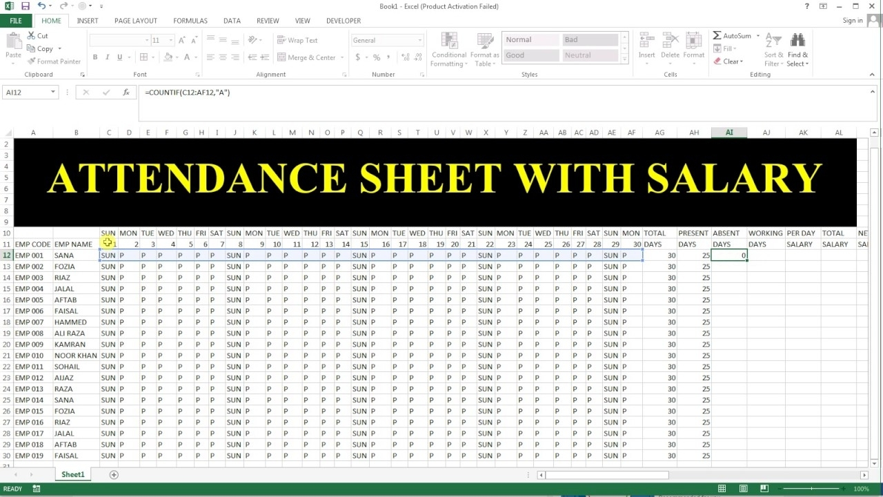 How To Make Attendance Sheet With Salary In Ms Excel # 33 inside How To Make Full Year Attendance Sheet