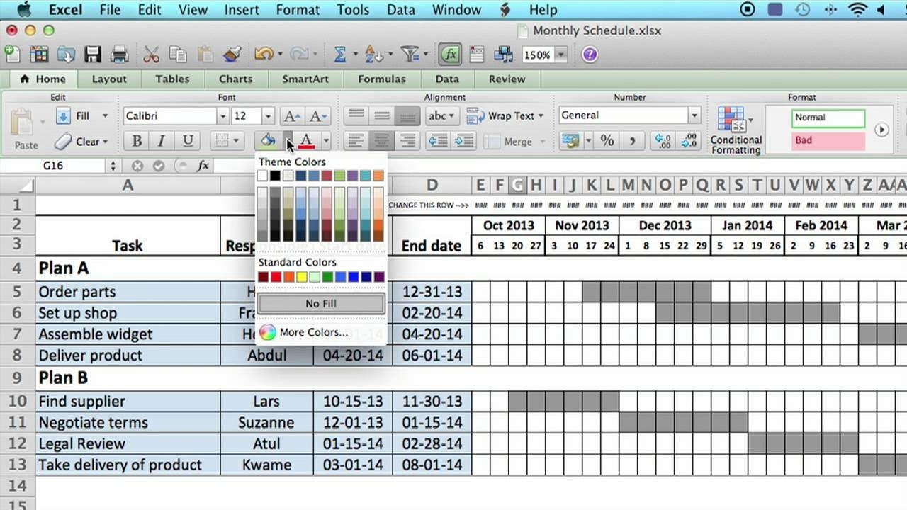 How To Use A Monthly Schedule In Microsoft Excel : Using Ms Excel for Monthly Route Schedule Template Free