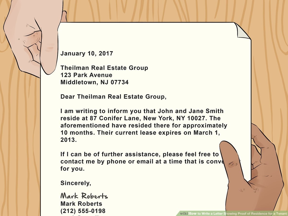 How To Write A Letter Showing Proof Of Residence For A Tenant (With regarding Letter For Food Stamps Sample