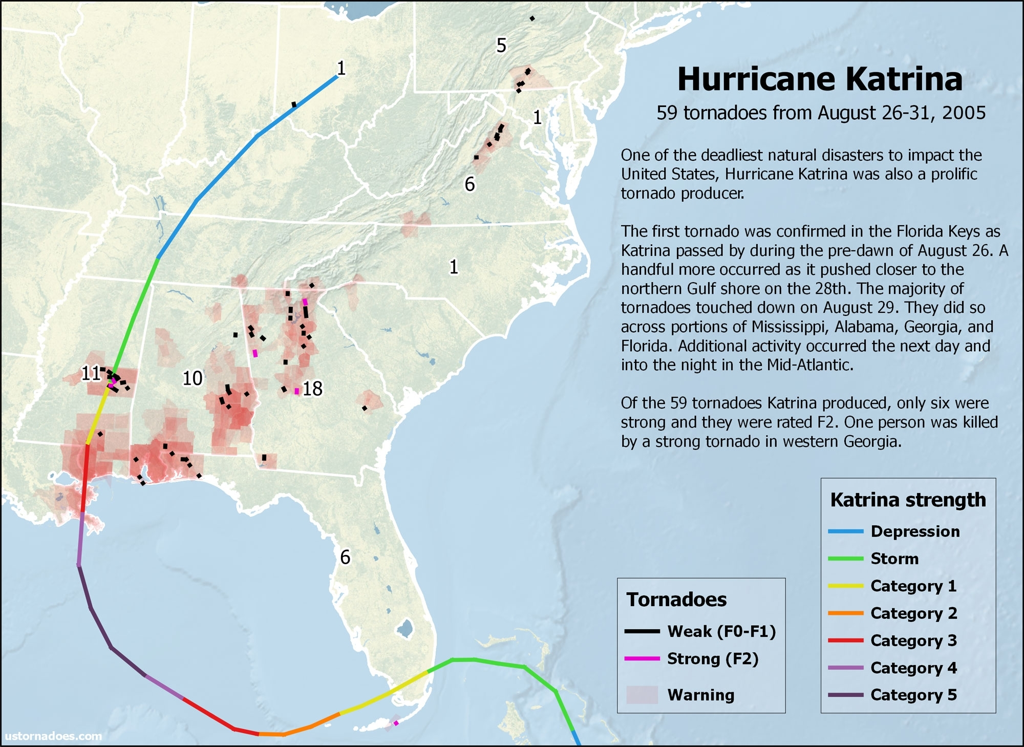 Hurricane Katrina Also Caused A Tornado Outbreak - U.s. Tornadoes with Map Of Area Affected By Hurricane Katrina