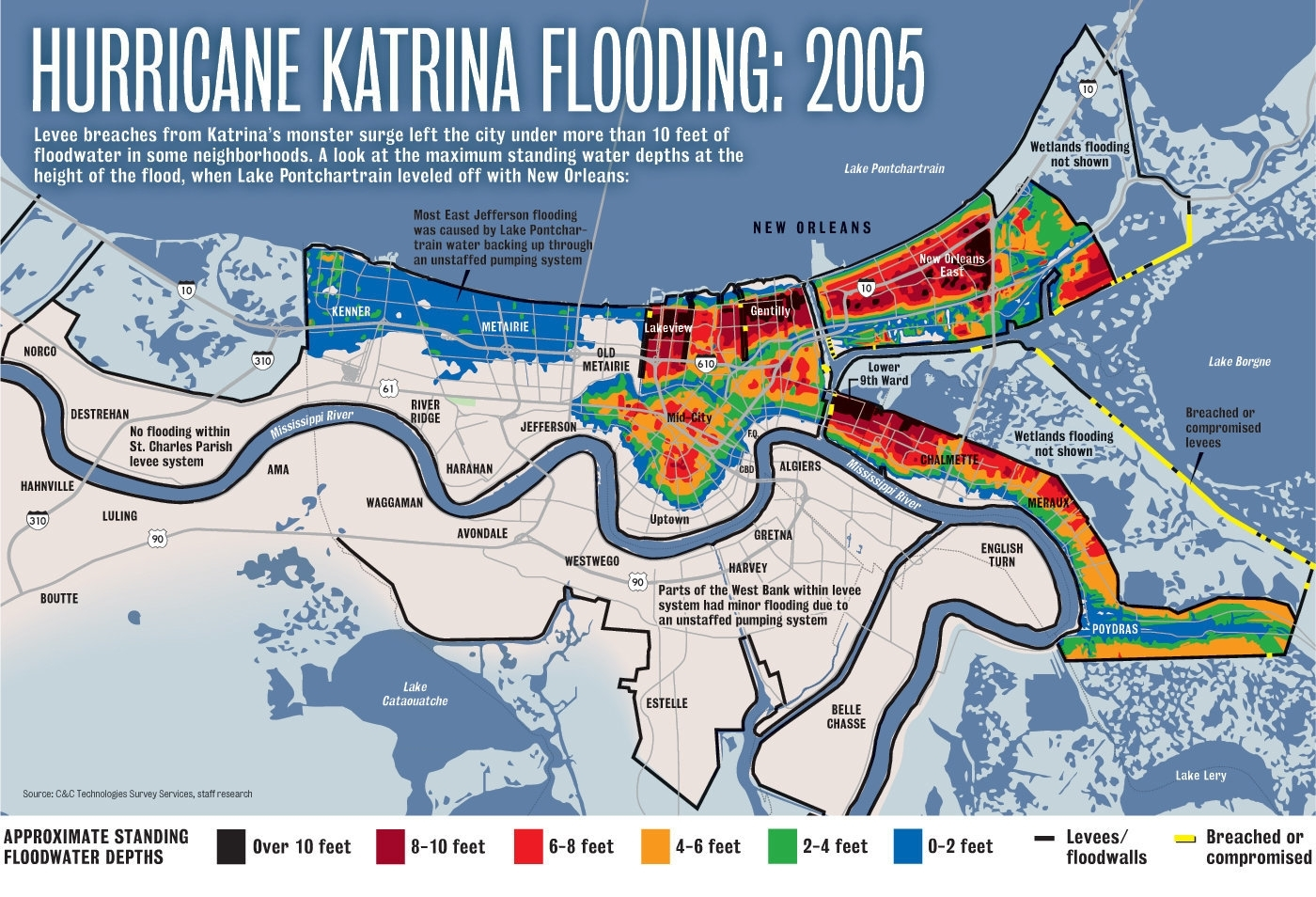 Hurricane Katrina Flooding Compared To A 500-Year Storm Today in Map Of Area Affected By Hurricane Katrina