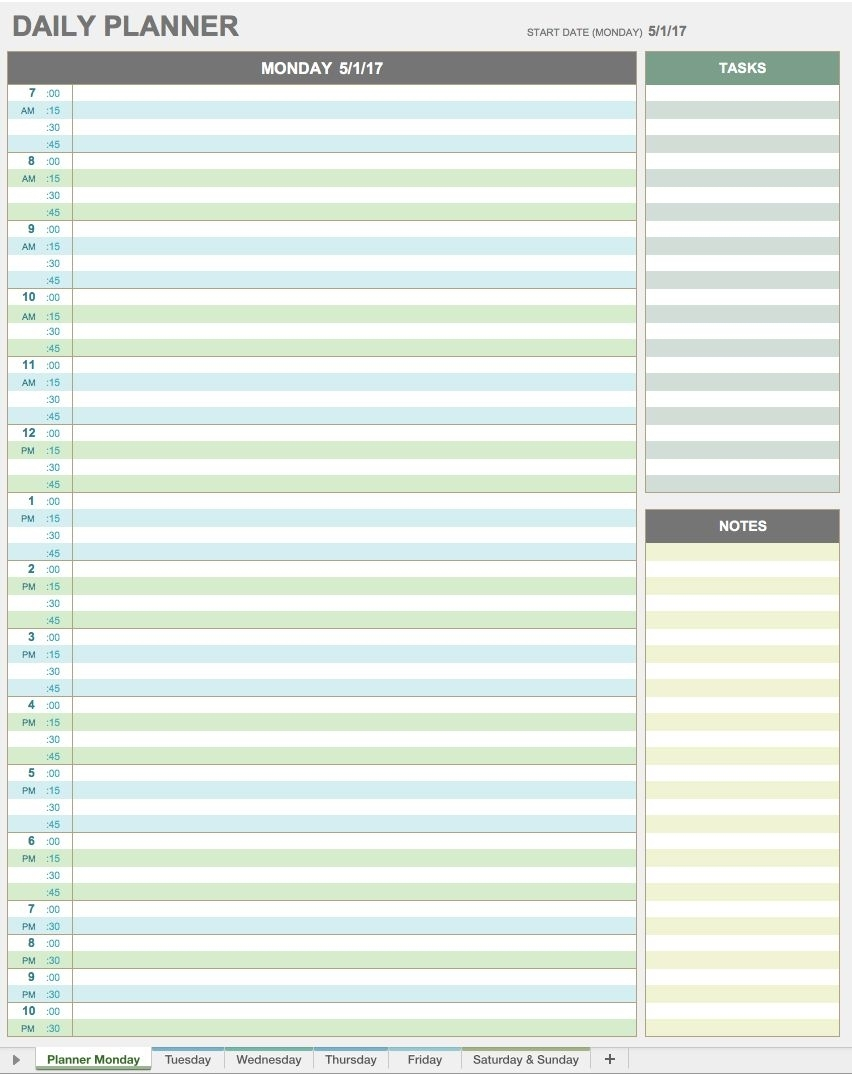 Ic Daily Planner Templatewer Planning Free Excel Spreadsheet pertaining to Excel Day Planner Template Free