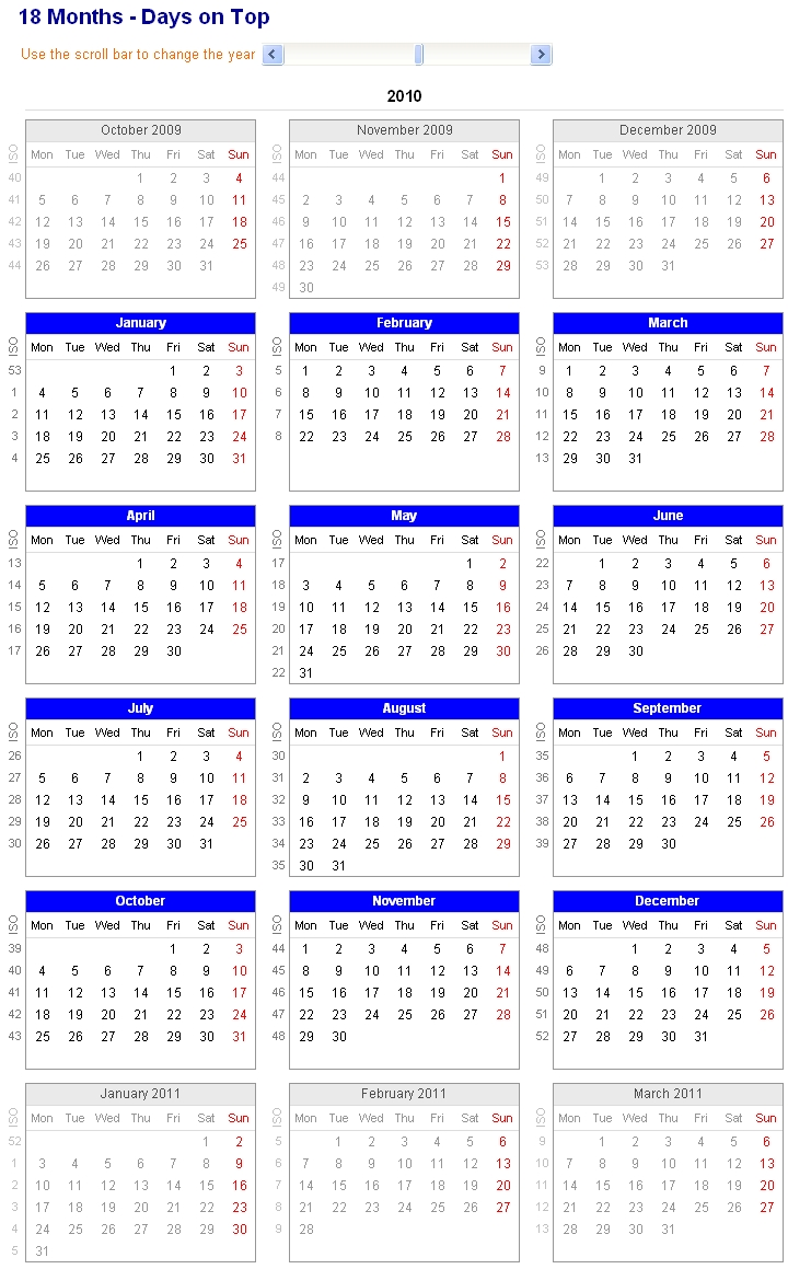 Image Of Adjustable And Printable Excel Calendar - 18-Month Calendar throughout Numbers Days Of The Month