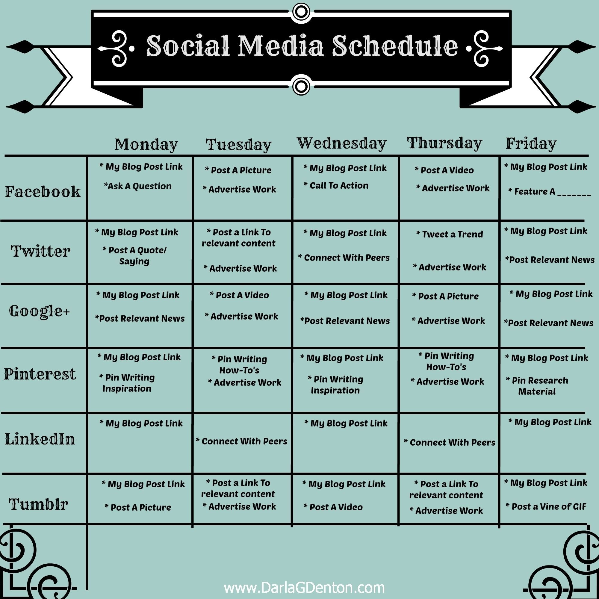 Image Result For Social Media Post Schedule | Business Helps I Need for Social Media Posting Schedule Template