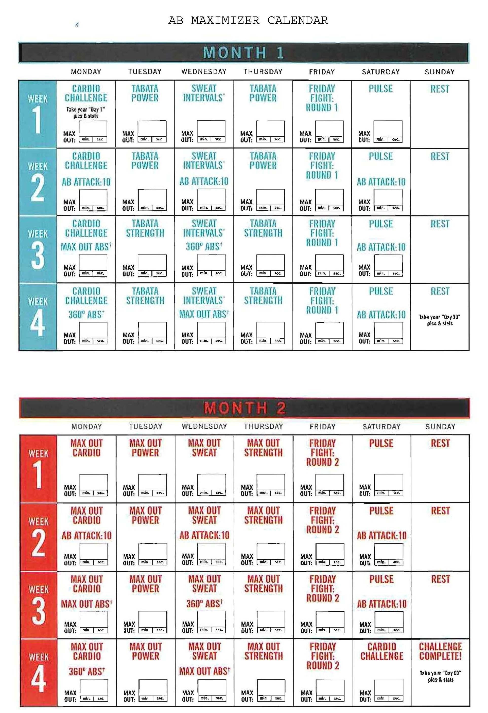 Insanity Ab Maximizer Calendar! Hit Tha Floor - Starting 12/15/14 for Insanity Max 30 Calendar Month 2