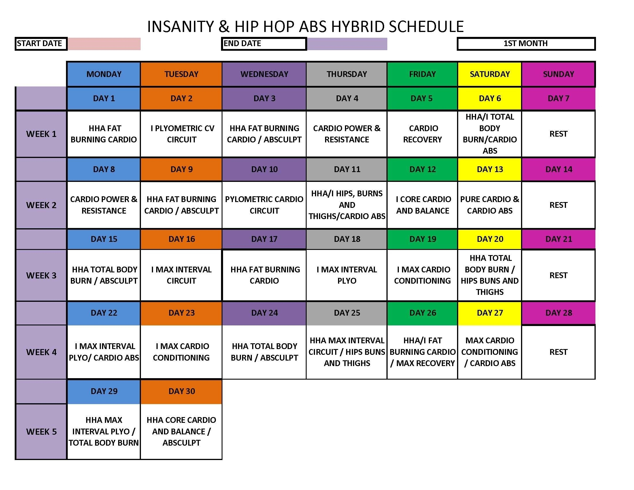 Insanity - Hip Hop Abs Hybrid Schedule | Insanity | Workout, Fitness intended for Hip Hop Abs Month 2 Calendar