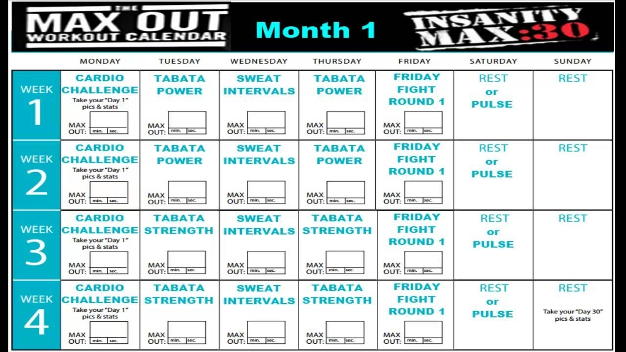 Insanity Max 30 Calendar Month 1 - Youtube throughout Insanity Max 30 Calendar Month 2