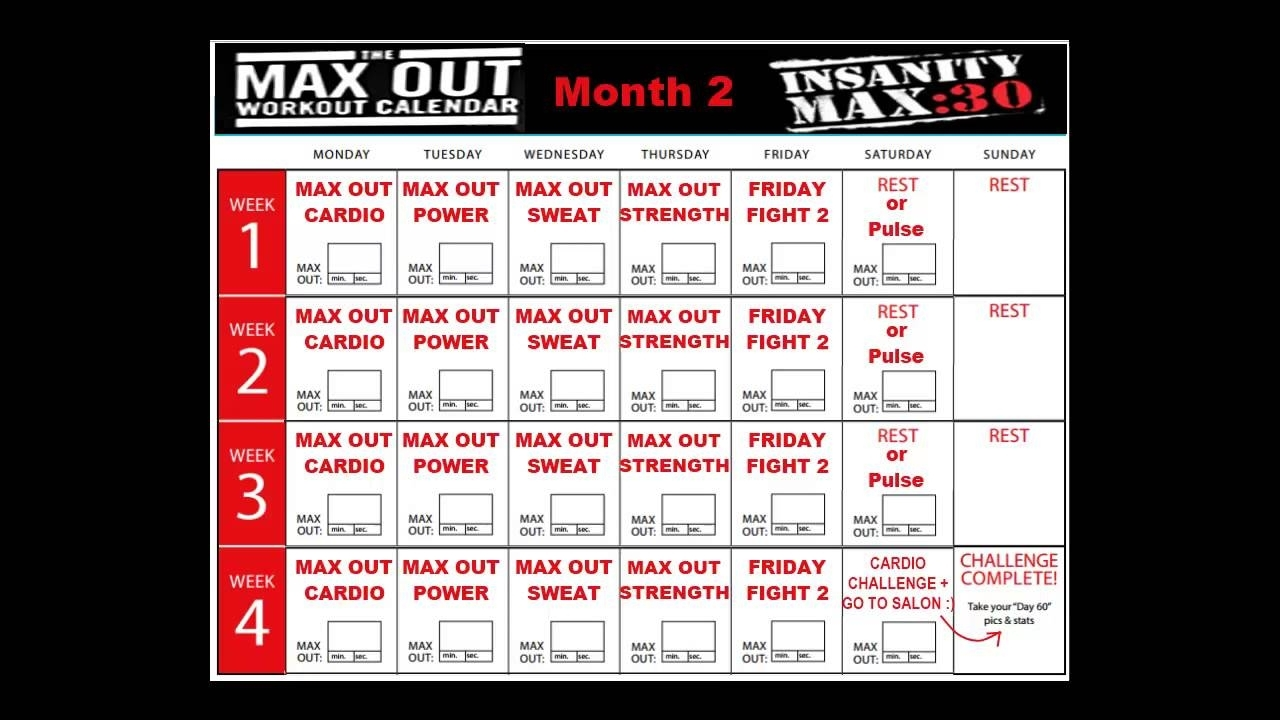 Insanity Max 30 Calendar Month 2 - Youtube inside Insanity Max 30 Calendar Month 2