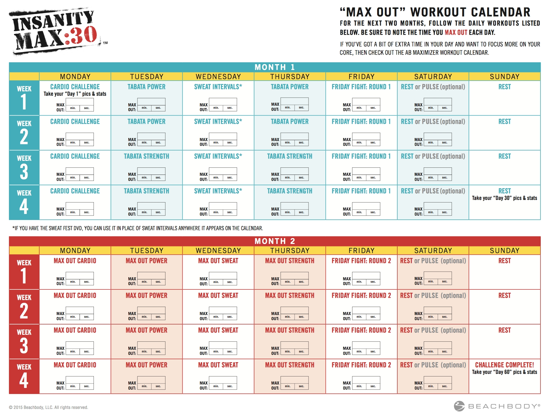 Insanity Max 30 Meal Plan - Focused On Fitness with regard to Insanity Max 30 Calendar Month 2