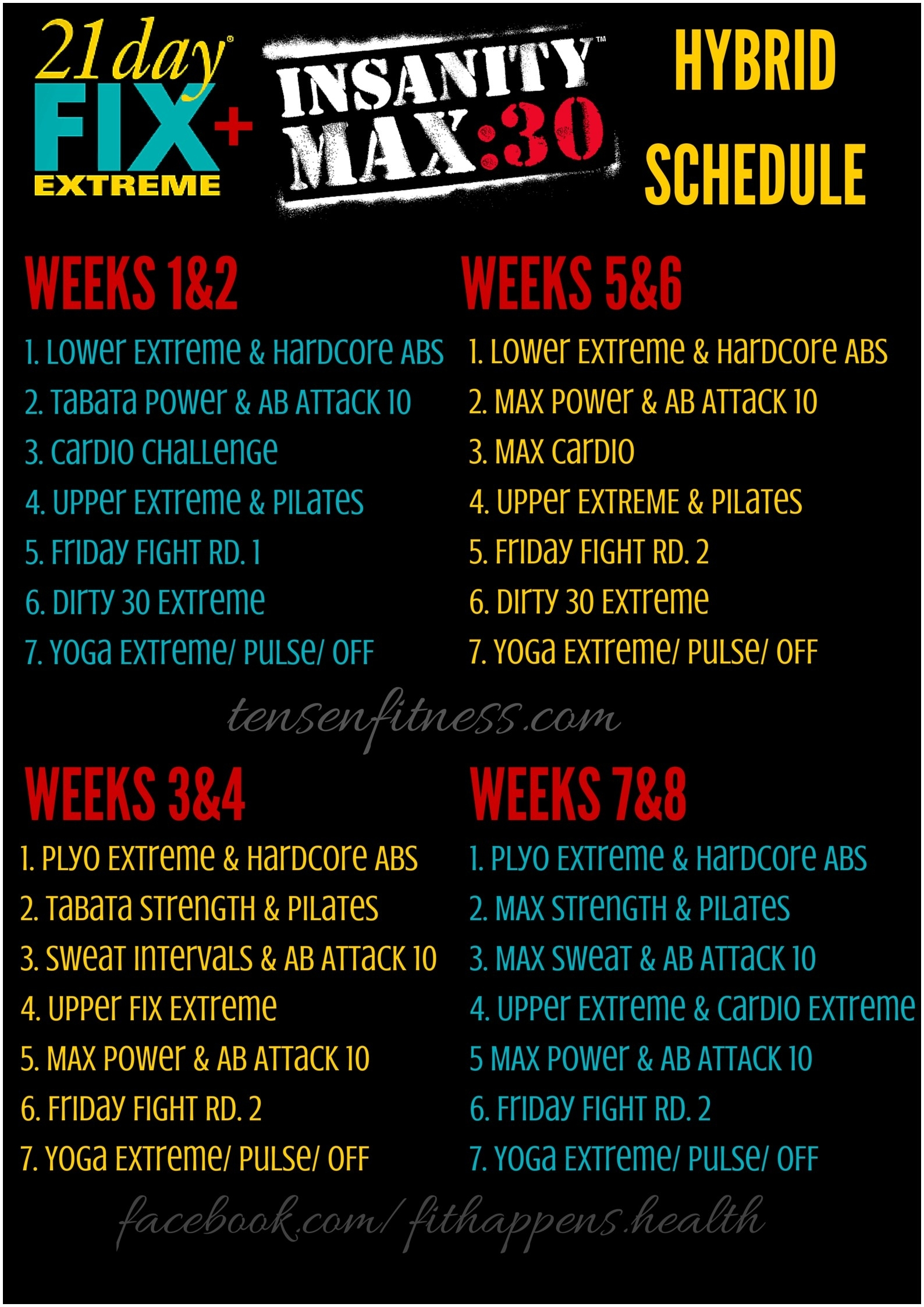 Insanity Max 30 Workouts Schedule | Kayaworkout.co for Insanity Max 30/piyo Hybrid Calendar