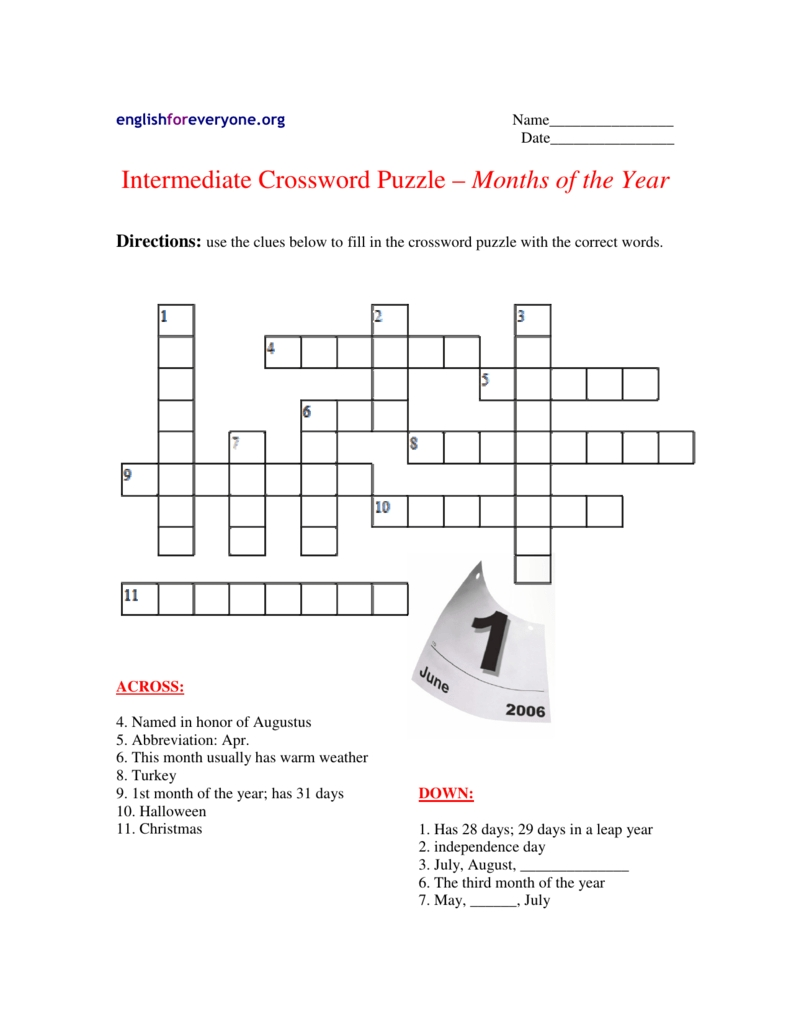 Intermediate Crossword Puzzle – Months Of The Year pertaining to Months Of The Year With 31 Days