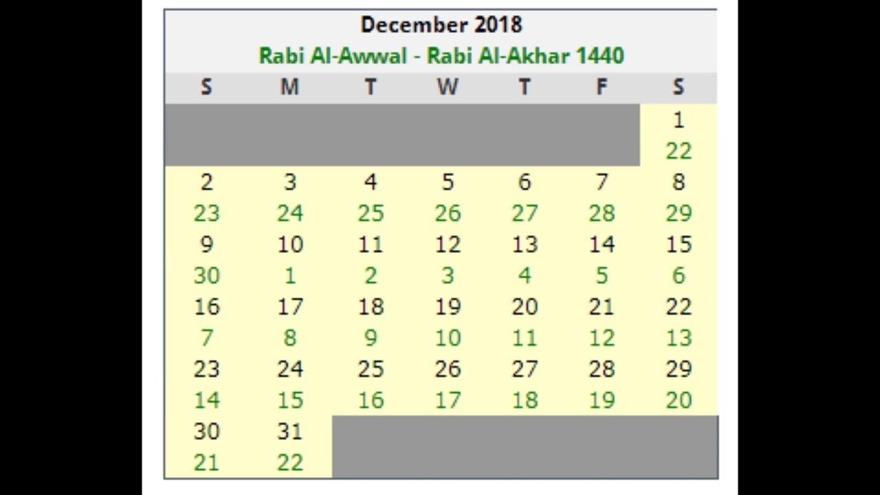 Islamic Calandar Dates December-2018 - Youtube with regard to Free Calendar 2012 December Islamic