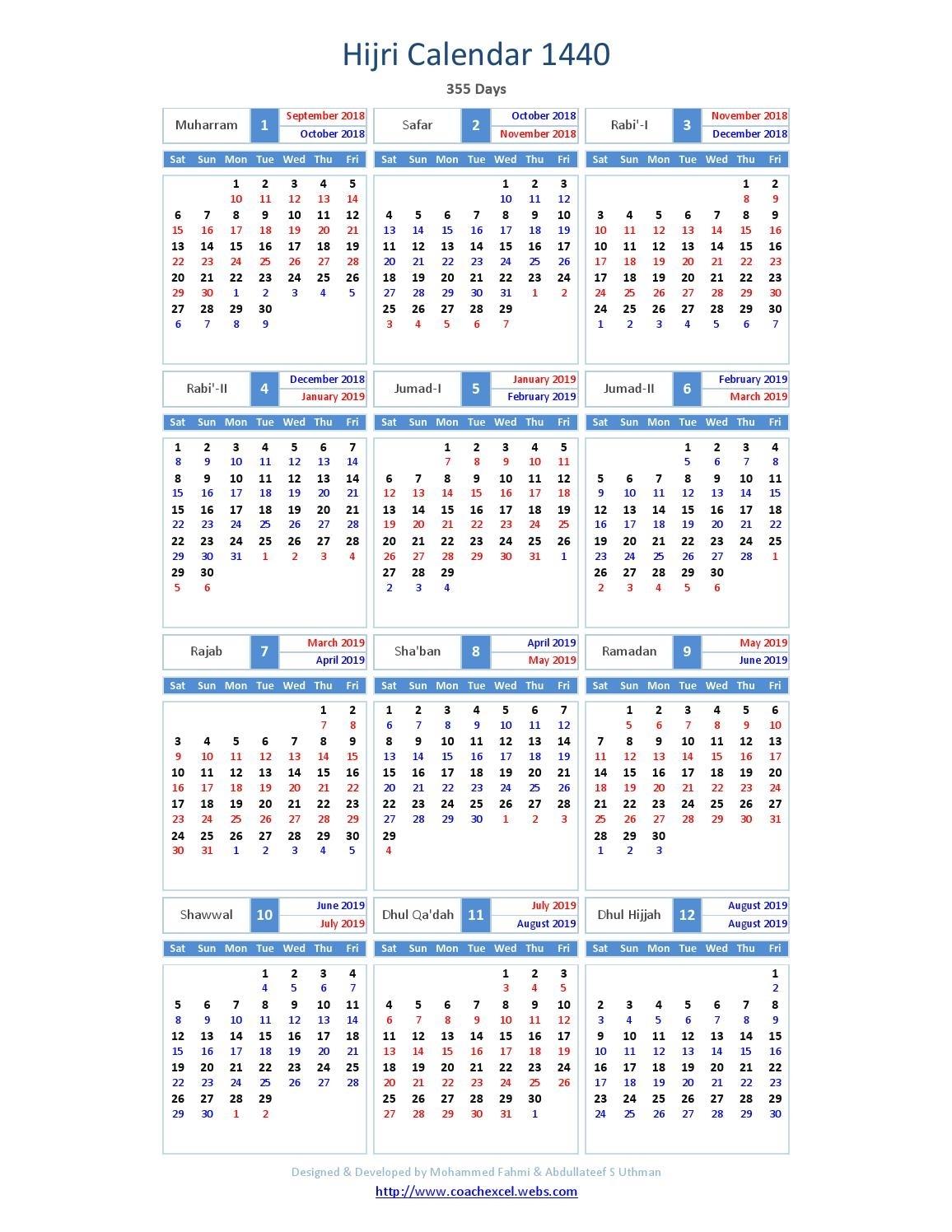 Islamic Calendar 2019 | Week Printable Calendar intended for Islamic Year Hijri 1438 Images