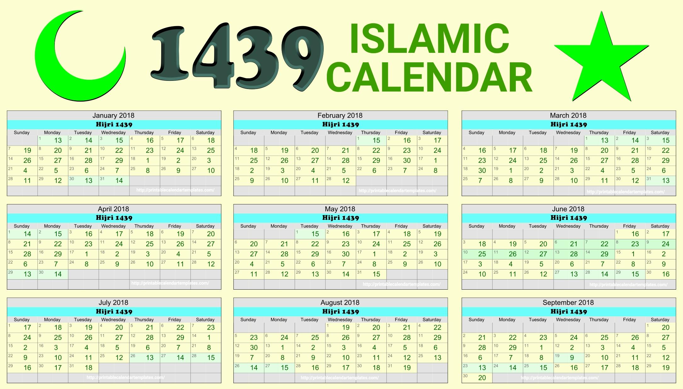 Islamic Calendar Months Islamic Calendar 2018 Hijri Calendar 1439 throughout Hijri Calendar 1438 With Gregorian Calendar