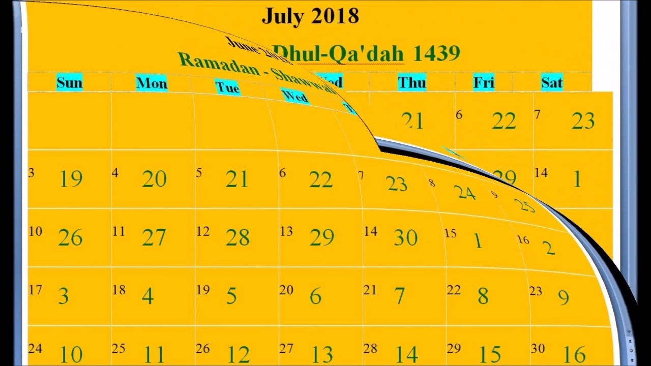 Islamic Hijri Calendar 2018 Based On Saudi Arabia - Youtube with regard to Ramadan Calendar Of Saudi Areabia