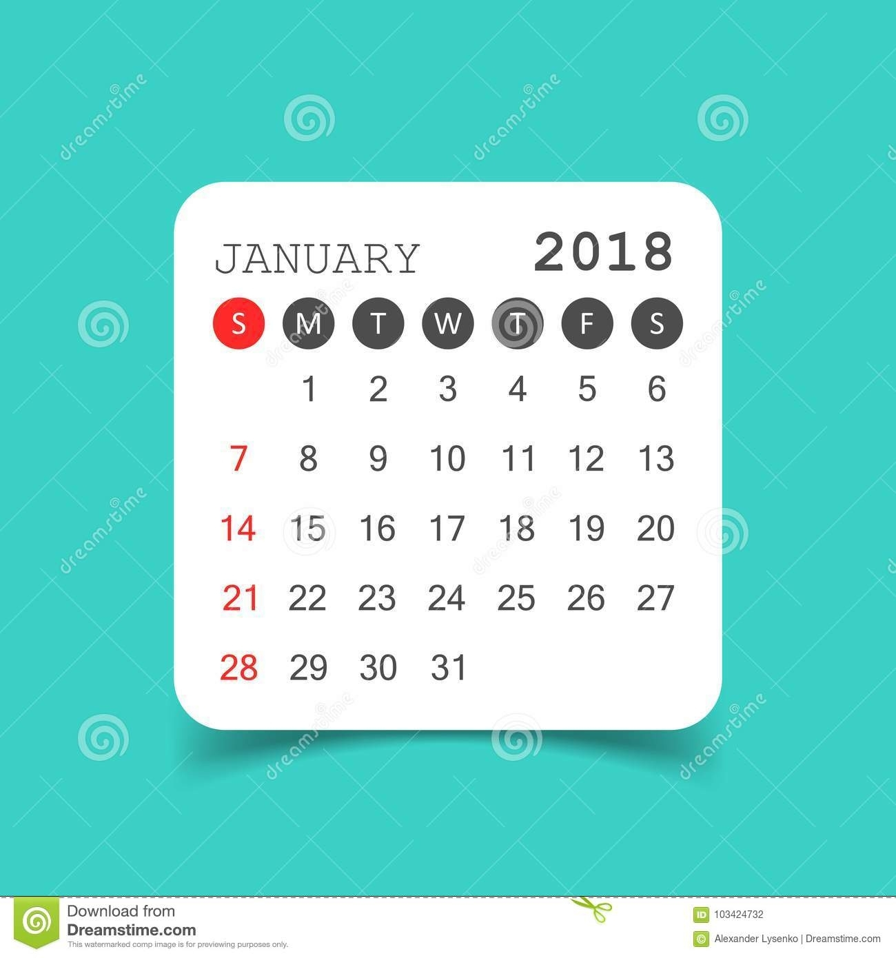 January 2018 Calendar. Calendar Sticker Design Template. Week St for Week By Week Mowing Calendar Templates