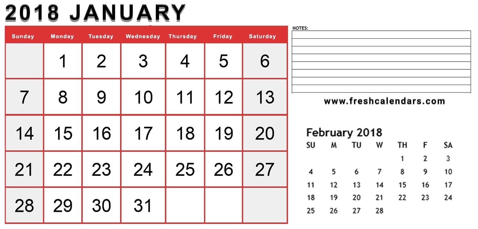 January 2018 Calendar Printable - Fresh Calendars inside Calendar With The Months Number