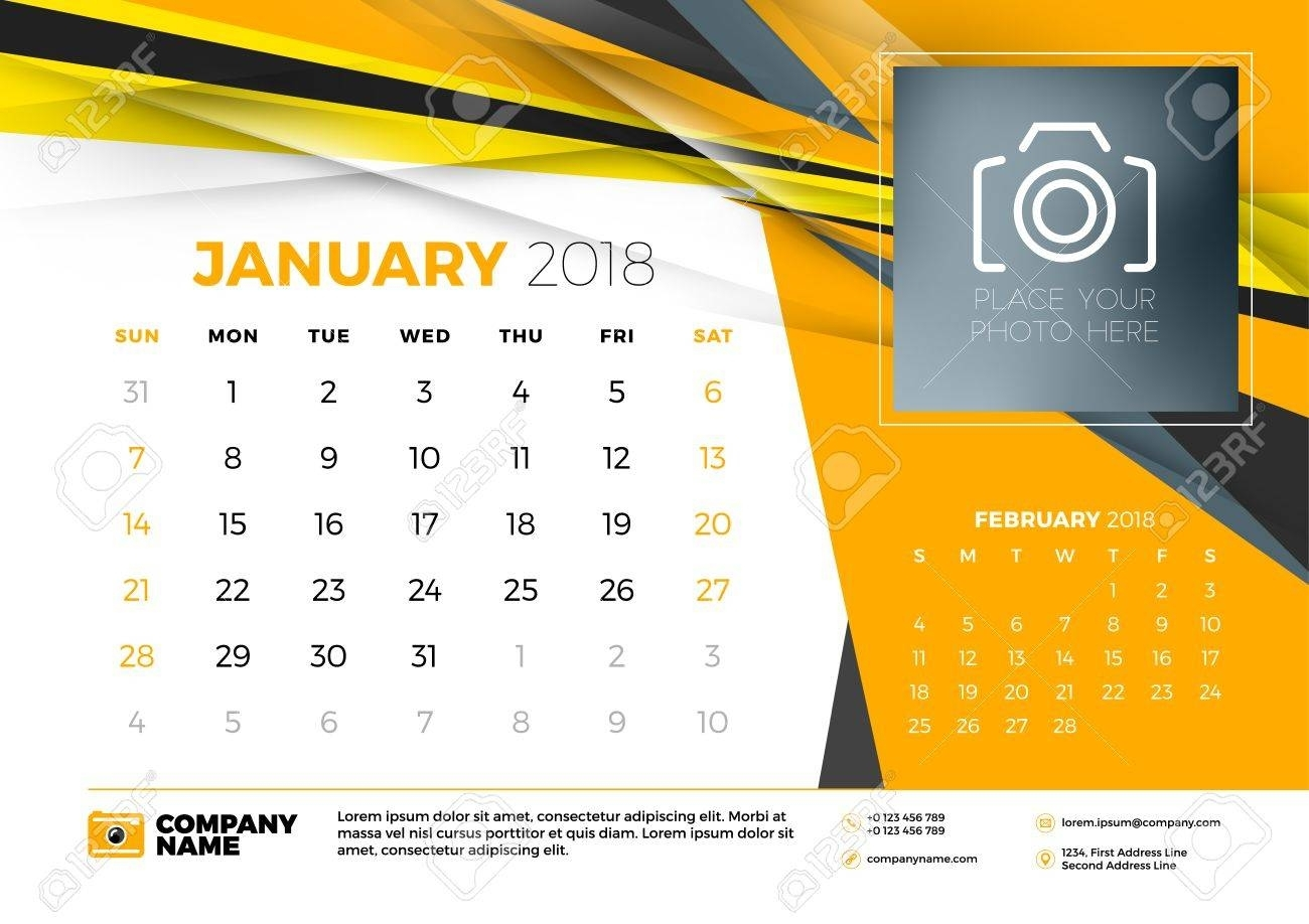 January 2018. Desk Calendar Design Template With Abstract Background inside Calendars For January Background Designs