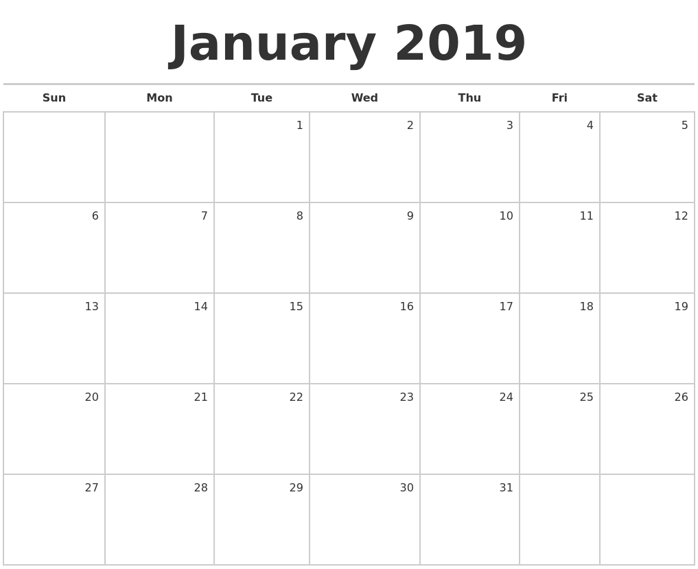 January 2019 Blank Monthly Calendar pertaining to Blank Monthly Calendar Monday Start