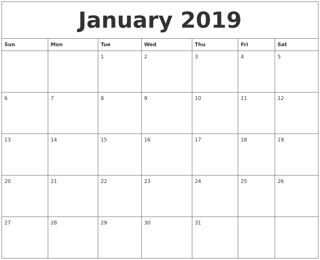 January 2019 Calendar regarding Picture Of A January Calender