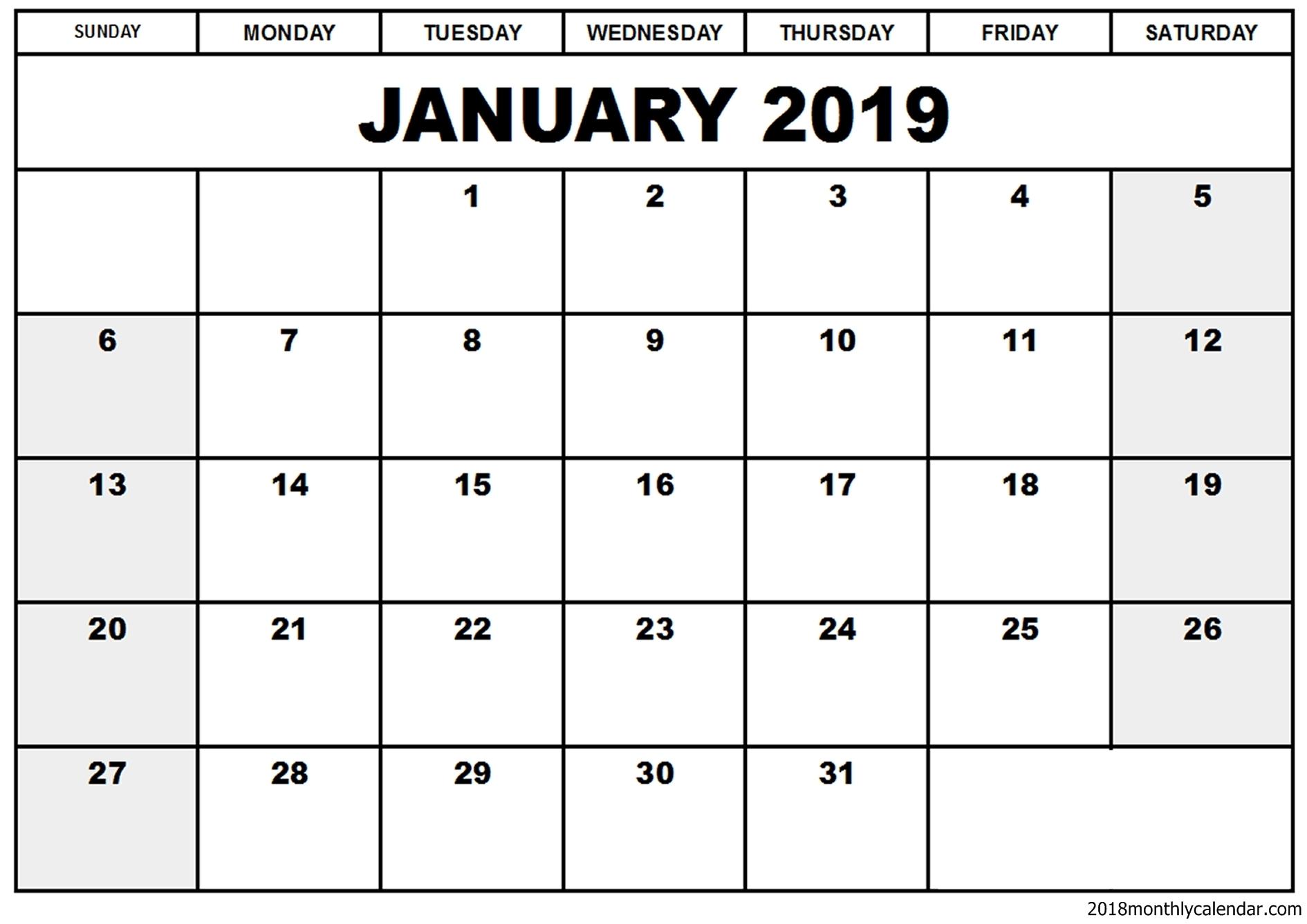 January 2019 Editable Calendar Printable - Free Printable Calendar intended for Free Fillable Blank Calendar Templates