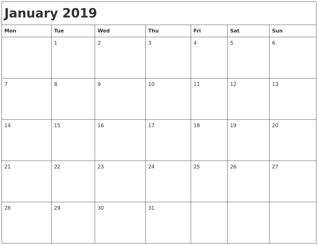 January 2019 Month Calendar with regard to Images Of A Calendar January Through December