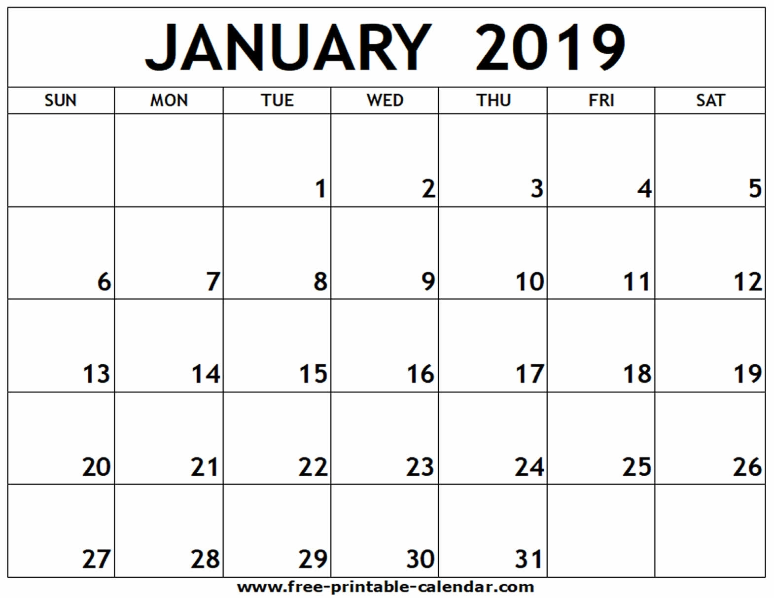 January 2019 Printable Calendar - Free-Printable-Calendar within Picture Of A January Calender