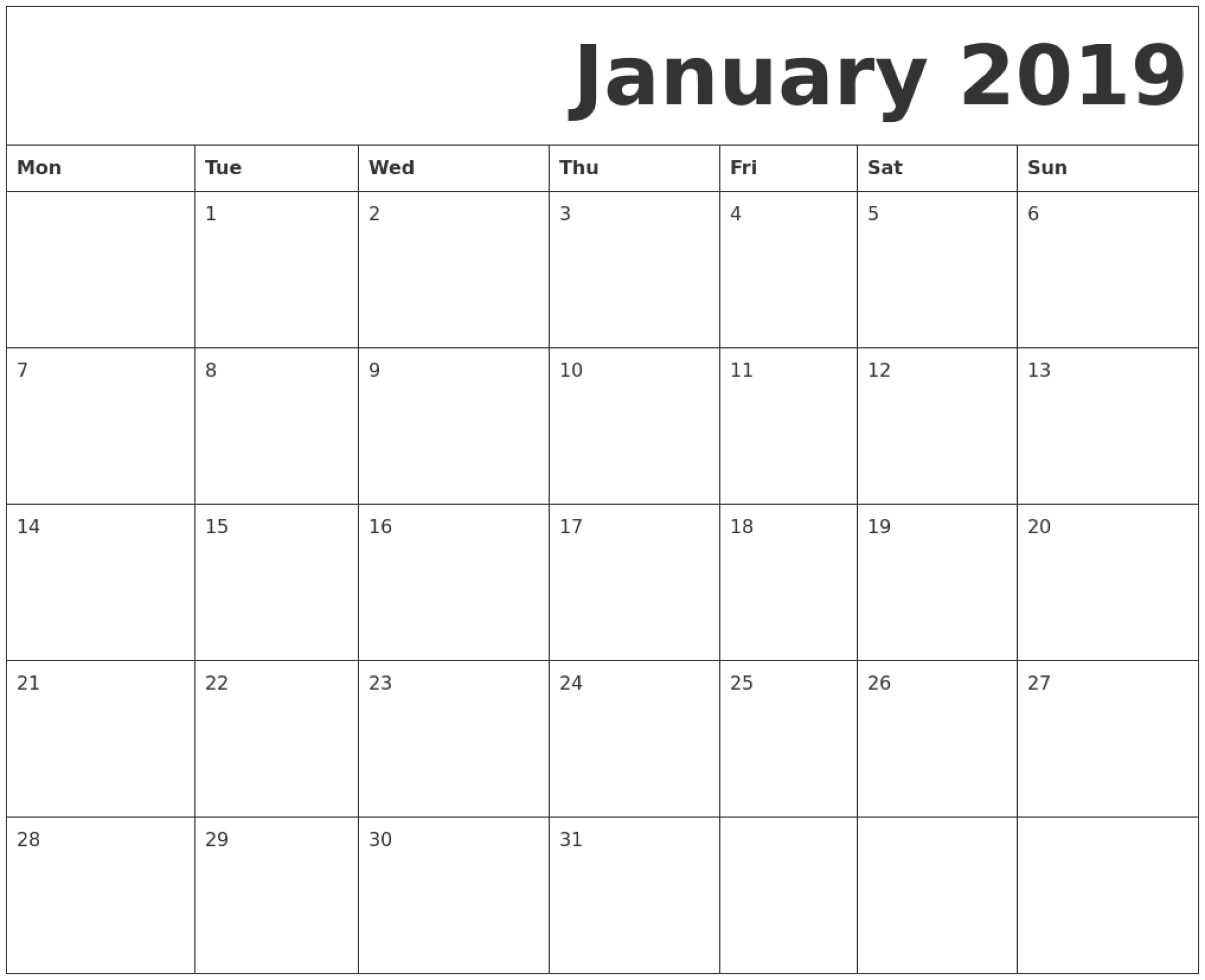 January 2019 Printable Calendar Monday Start. | January 2019 for Printable Monthly Blank Calendar Page