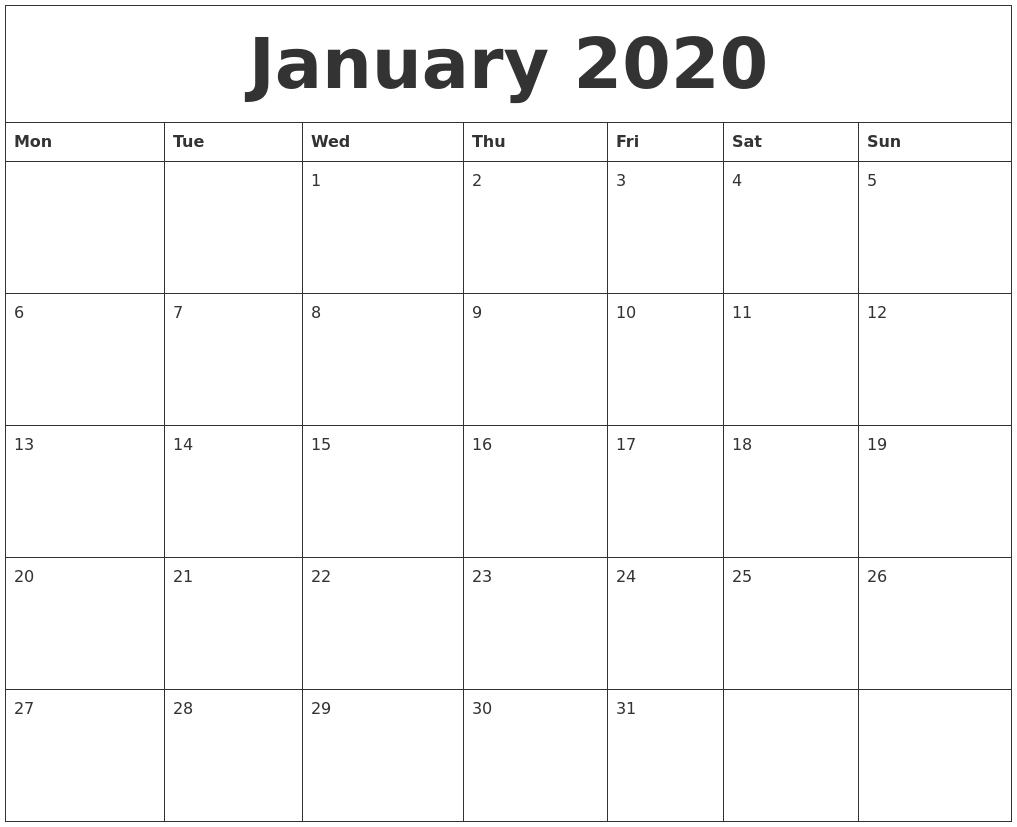 January 2020 Blank Monthly Calendar Template with Blank Monthly Calendar Printable With Lines