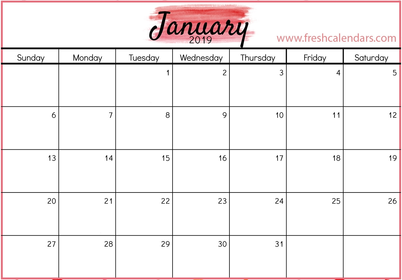 January Calendar 2019 - Free Printable Calendar, Templates And Holidays regarding Picture Of A January Calender