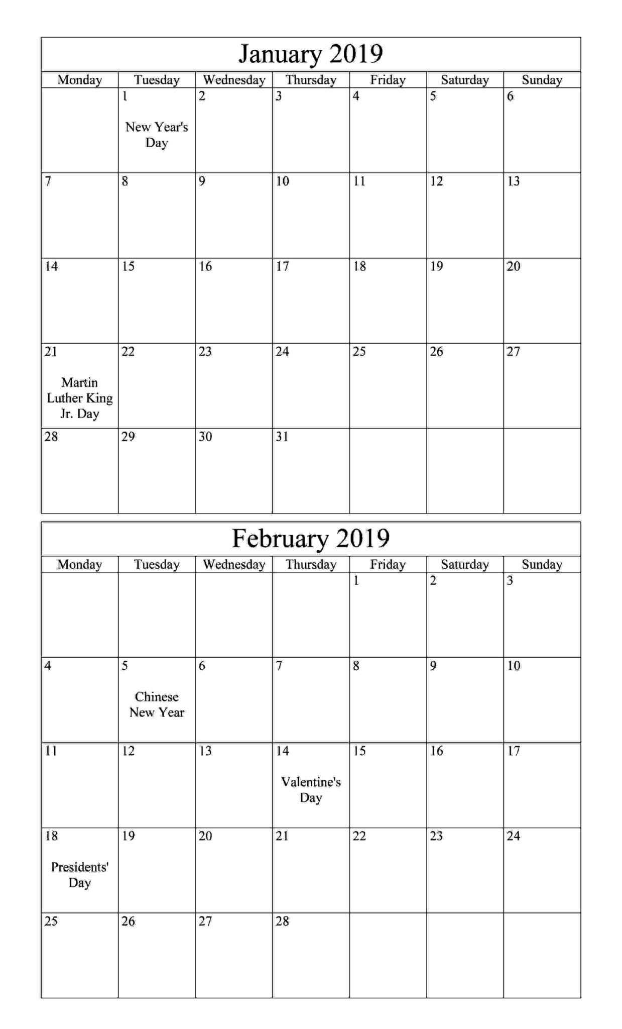 January February 2019 Calendar With Holiday | 100+ January And with Calendar Of February Month Of 100 Years