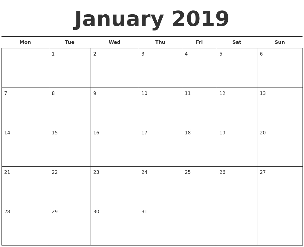January Month Calendar 2019 Printable Template | Monthly Calendar with Free Editable And Printable Monthly Calendar