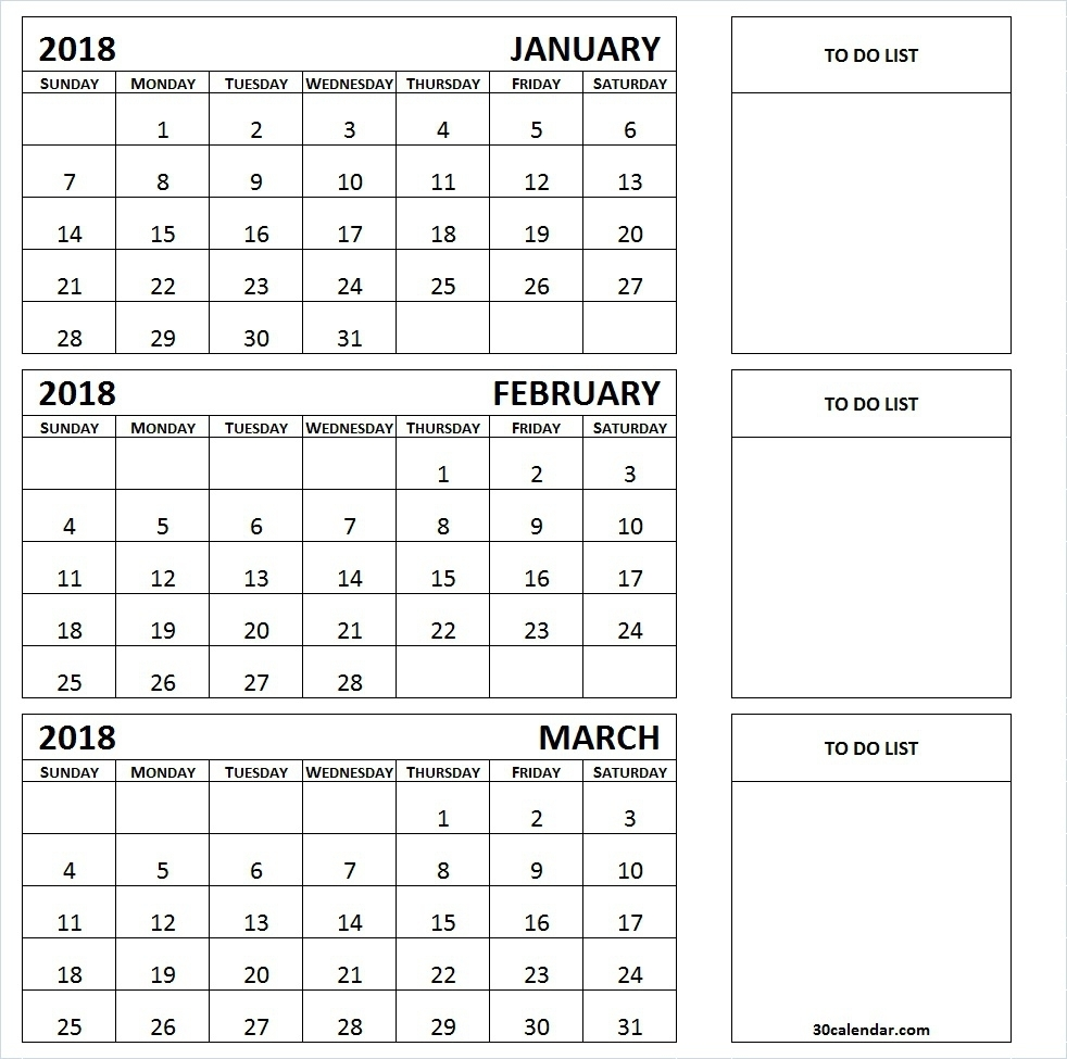 January To March 2018 Calendar Printable 3 Month Calendar Template regarding 3 Month Blank Calendar Template