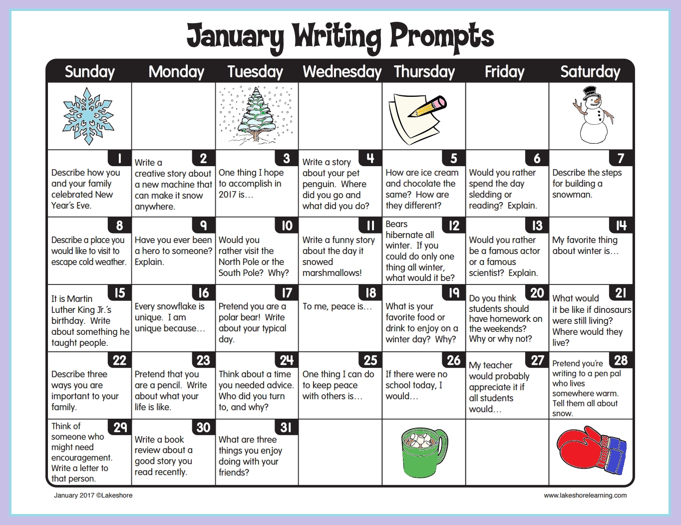 January Writing Prompts From Lakeshore Learning! | Kinders • Writing throughout August Calendar For Second Graders To Fill In