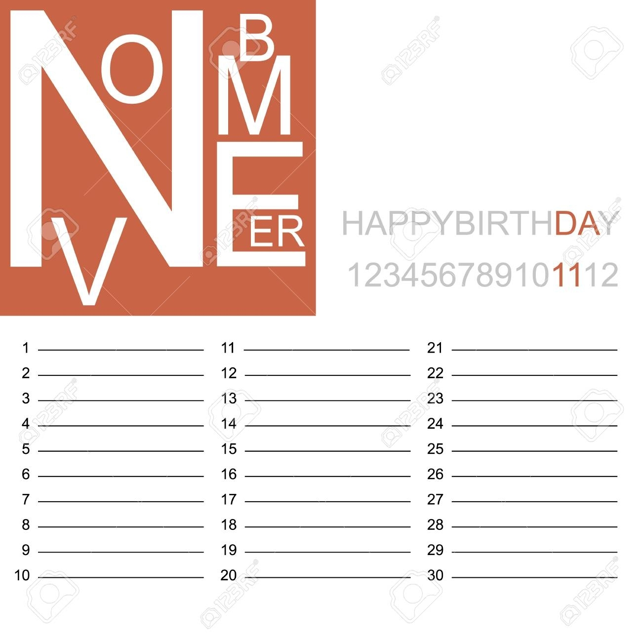 Jazzy Birthday Calendar November, Vector Illustration. Royalty Free throughout Free Images Of Birthday Calanders