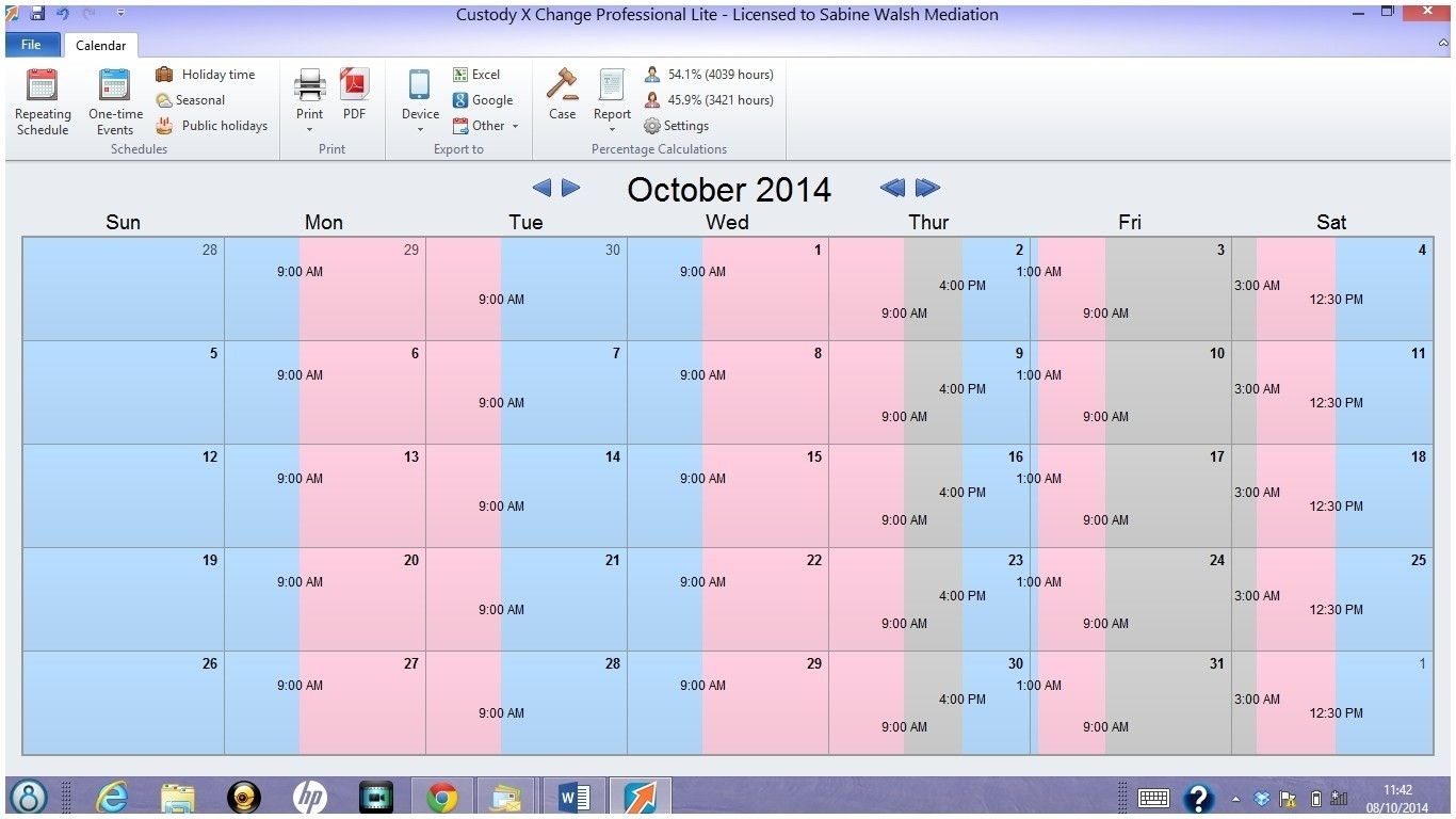 Joint Custody Calendar Child Visitation Calendar Template Online inside Free Templates Online For Children