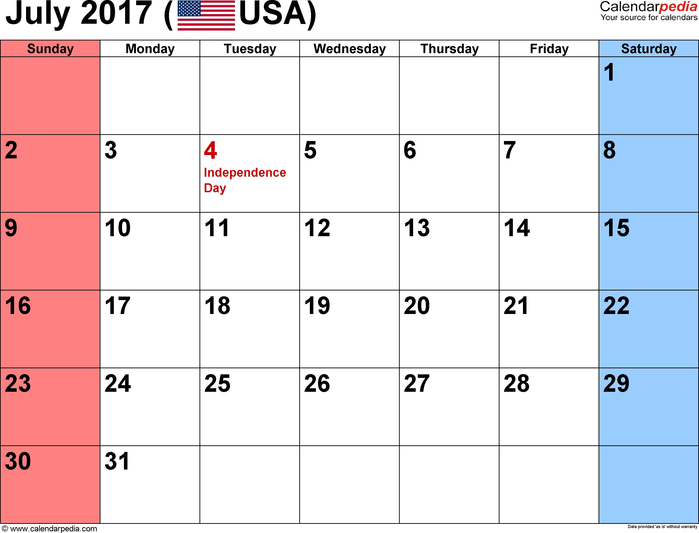 July 2017 Calendars For Word, Excel & Pdf pertaining to Small Calender For July And Agust
