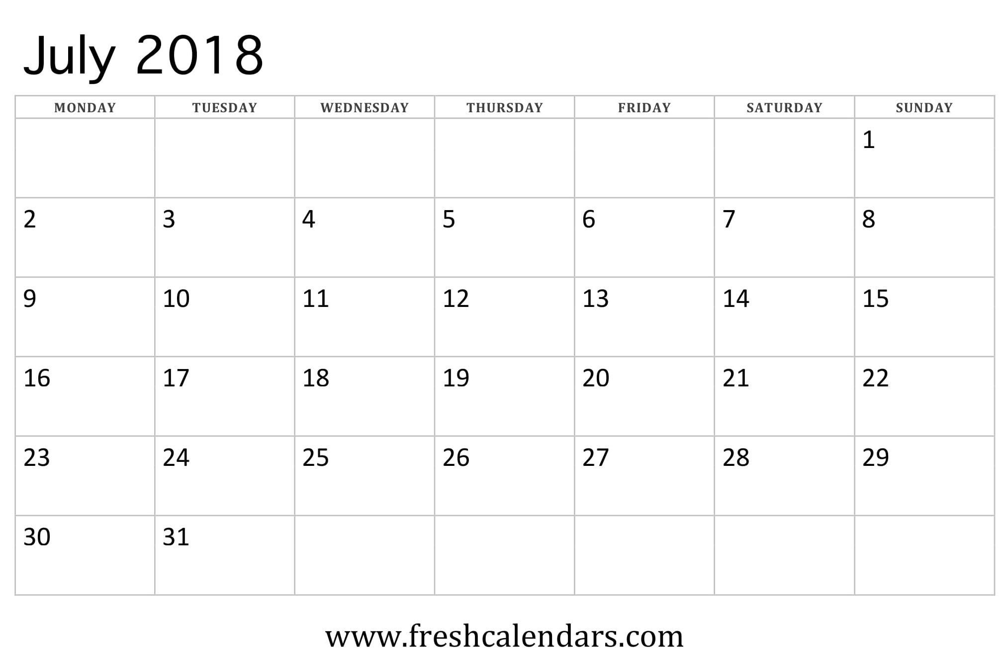 July 2018 Calendar Printable - Fresh Calendars intended for Month Calendar Beginning On Monday