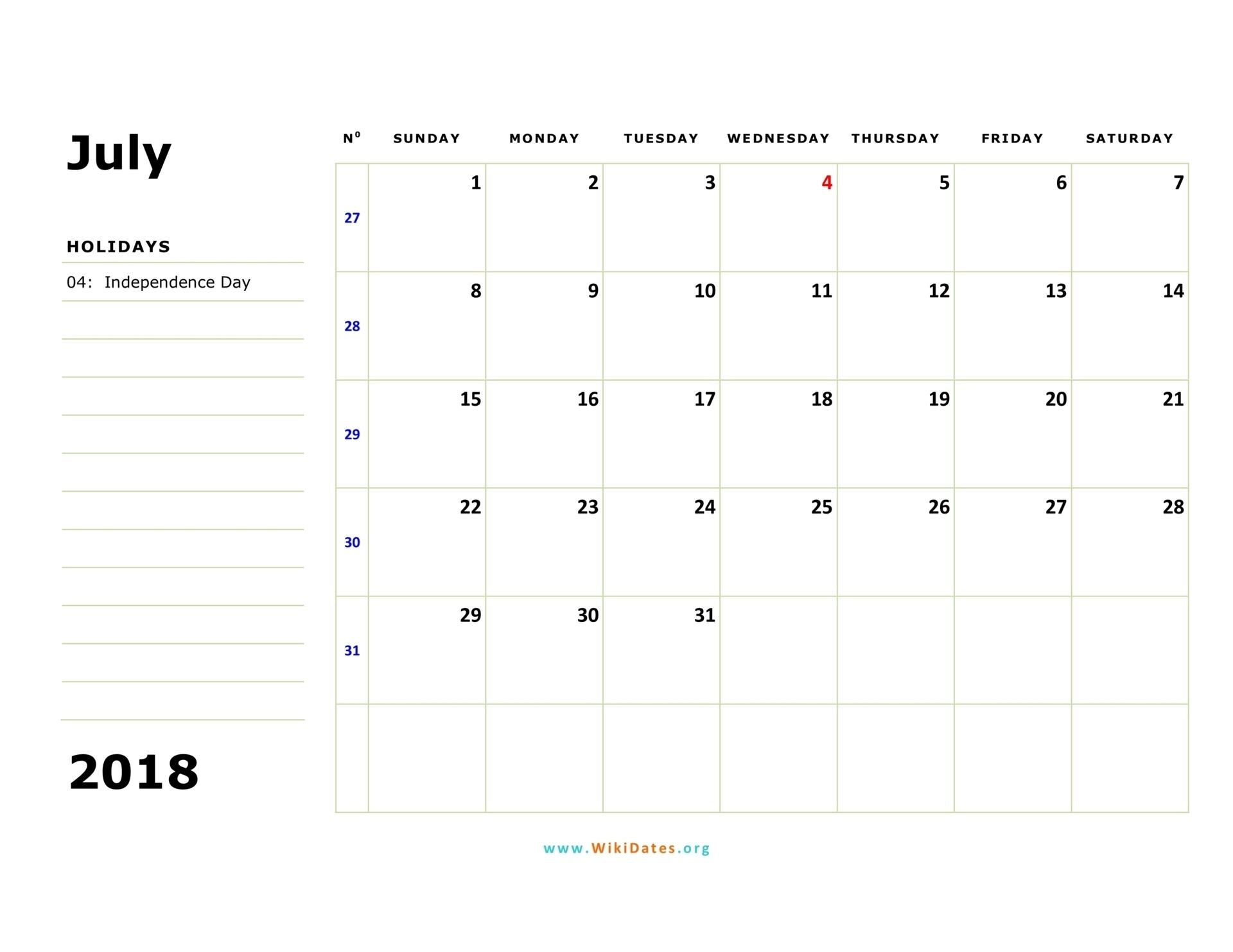 July 2018 Calendar | Wikidates with regard to July Calendar Monday To Sunday