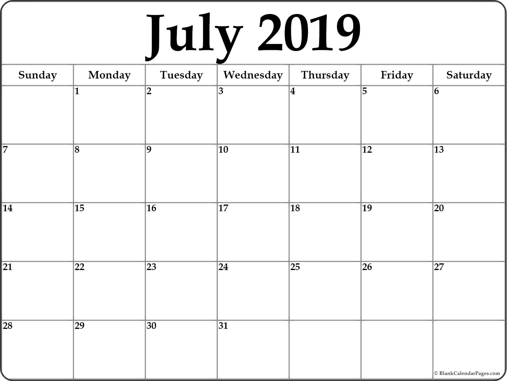July 2019 Blank Calendar Templates. with regard to 31 Day Month Calendar Printable