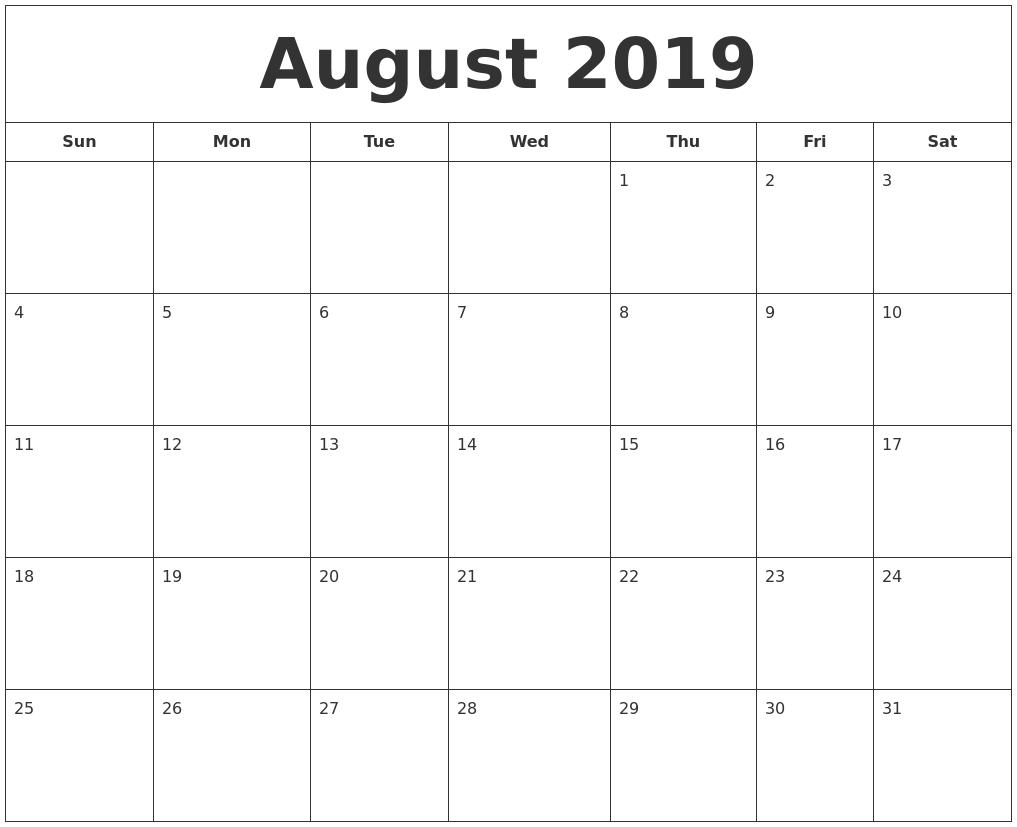 July 2019 Calendar in Printable July Through August Calendars