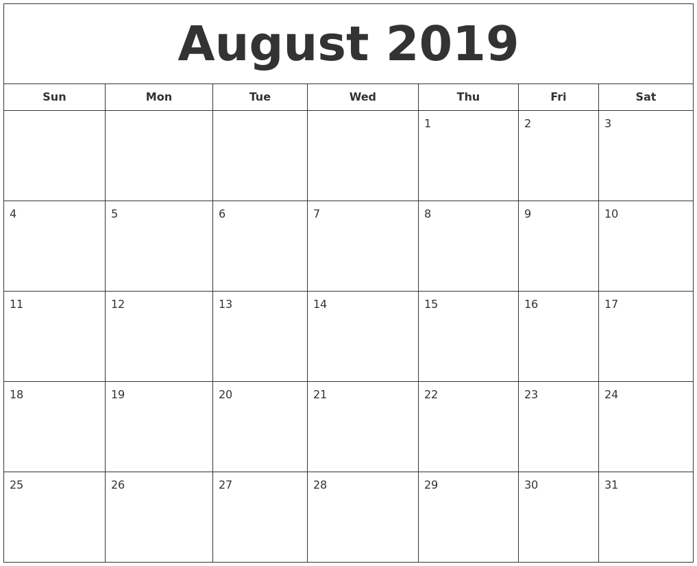 July 2019 Calendar within July And August Blank Calendar