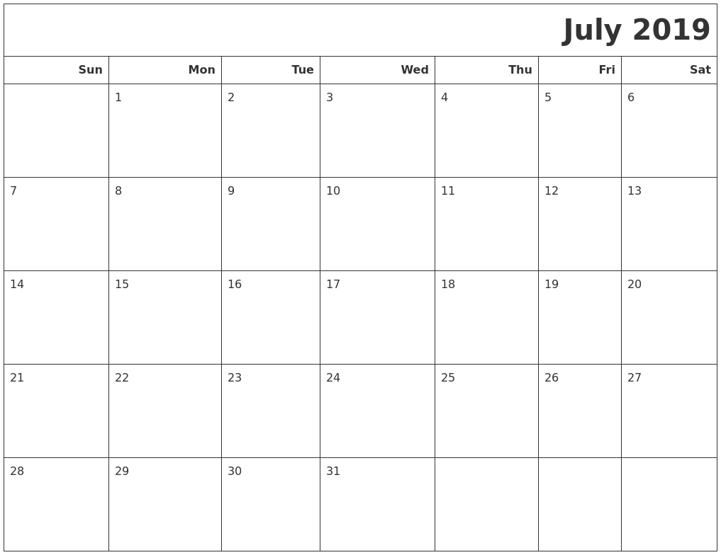 July 2019 Calendars To Print throughout July Calendar Monday To Sunday