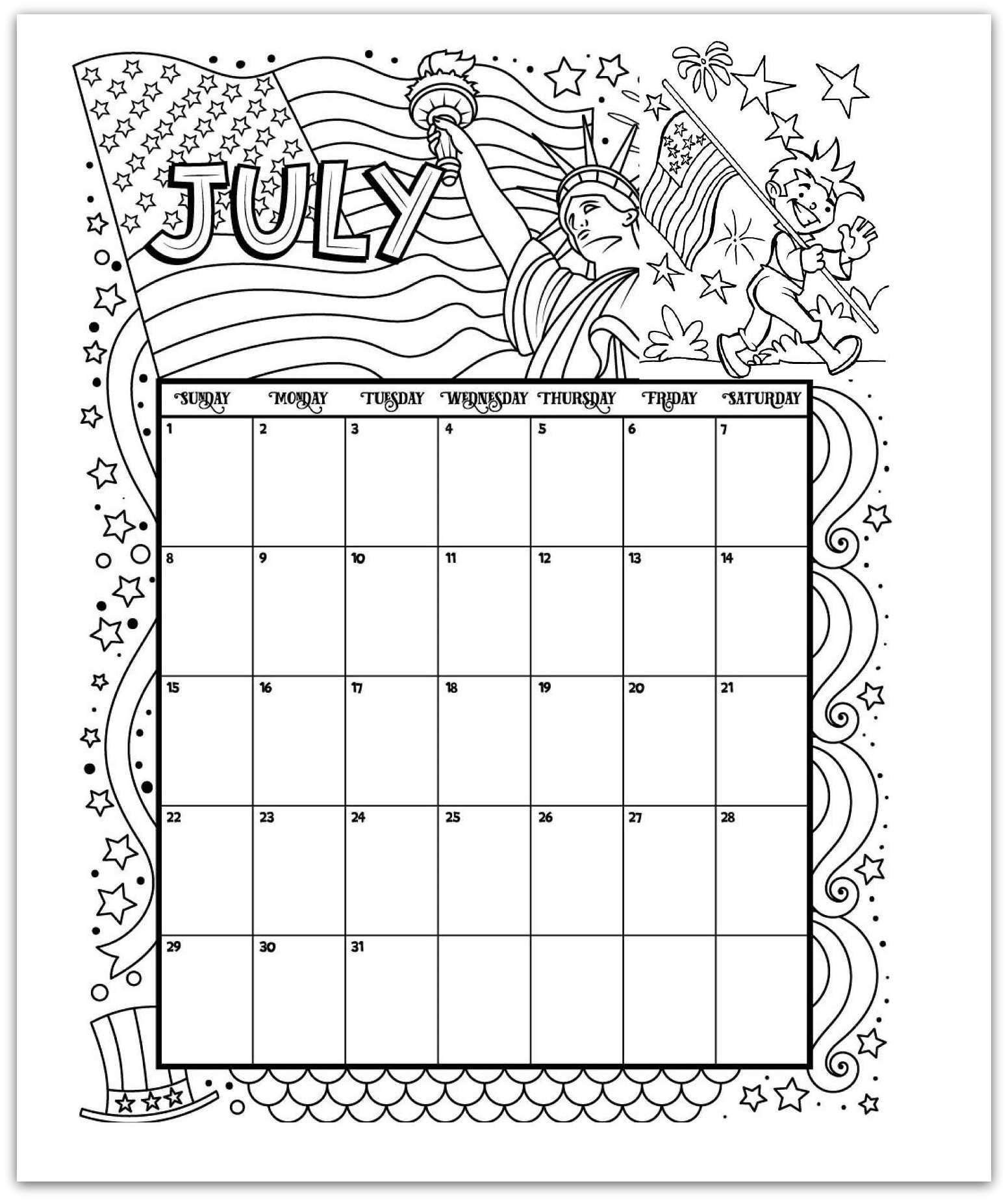 July 2019 Coloring Page Printable Calendar | Planning 2017-2019 for Free Coloring Calendars For June