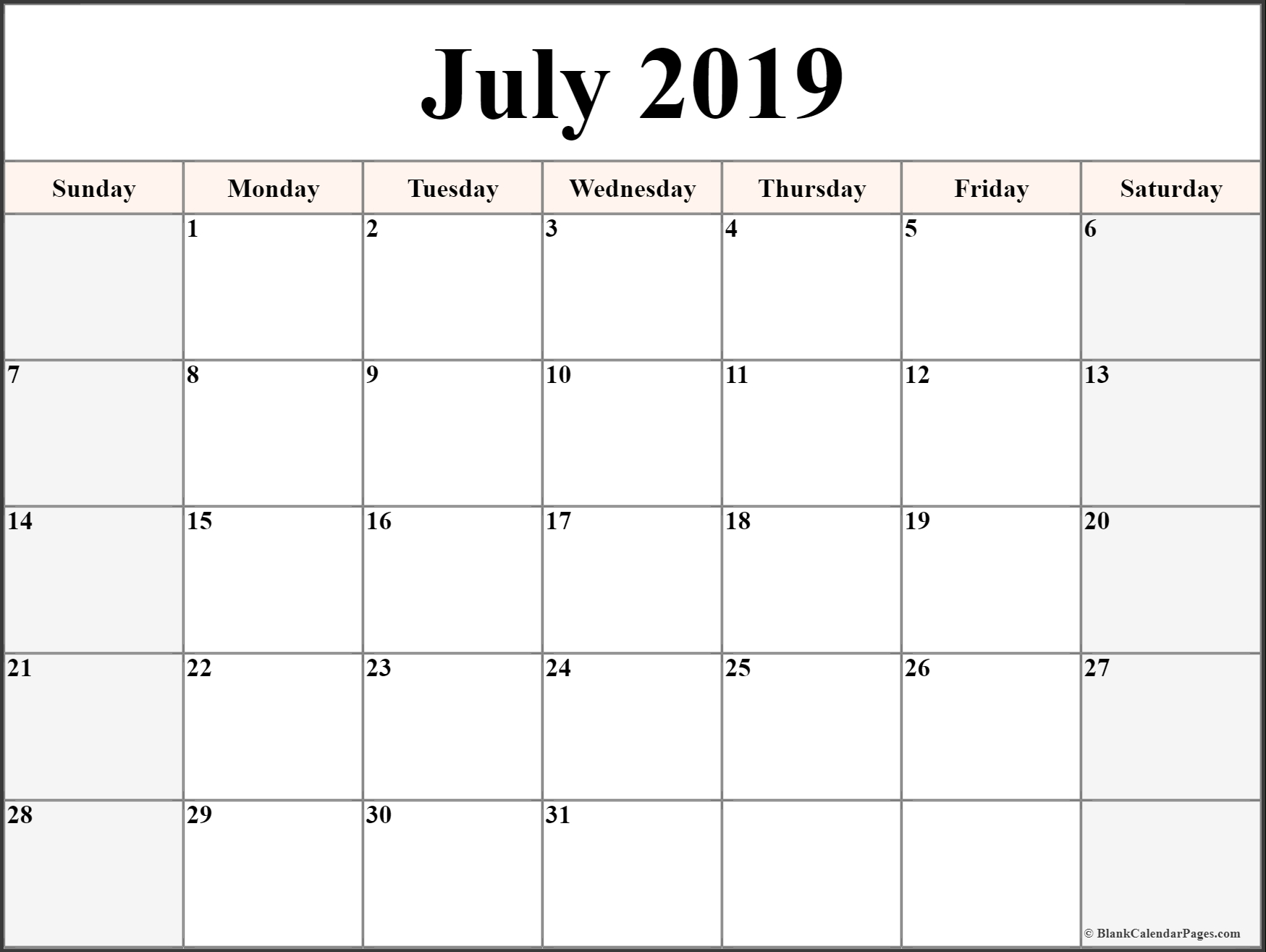 July 2019 Printable Calendar Blank Templates - Calendar Hour - 2019 in July Printable Calendar With Hours