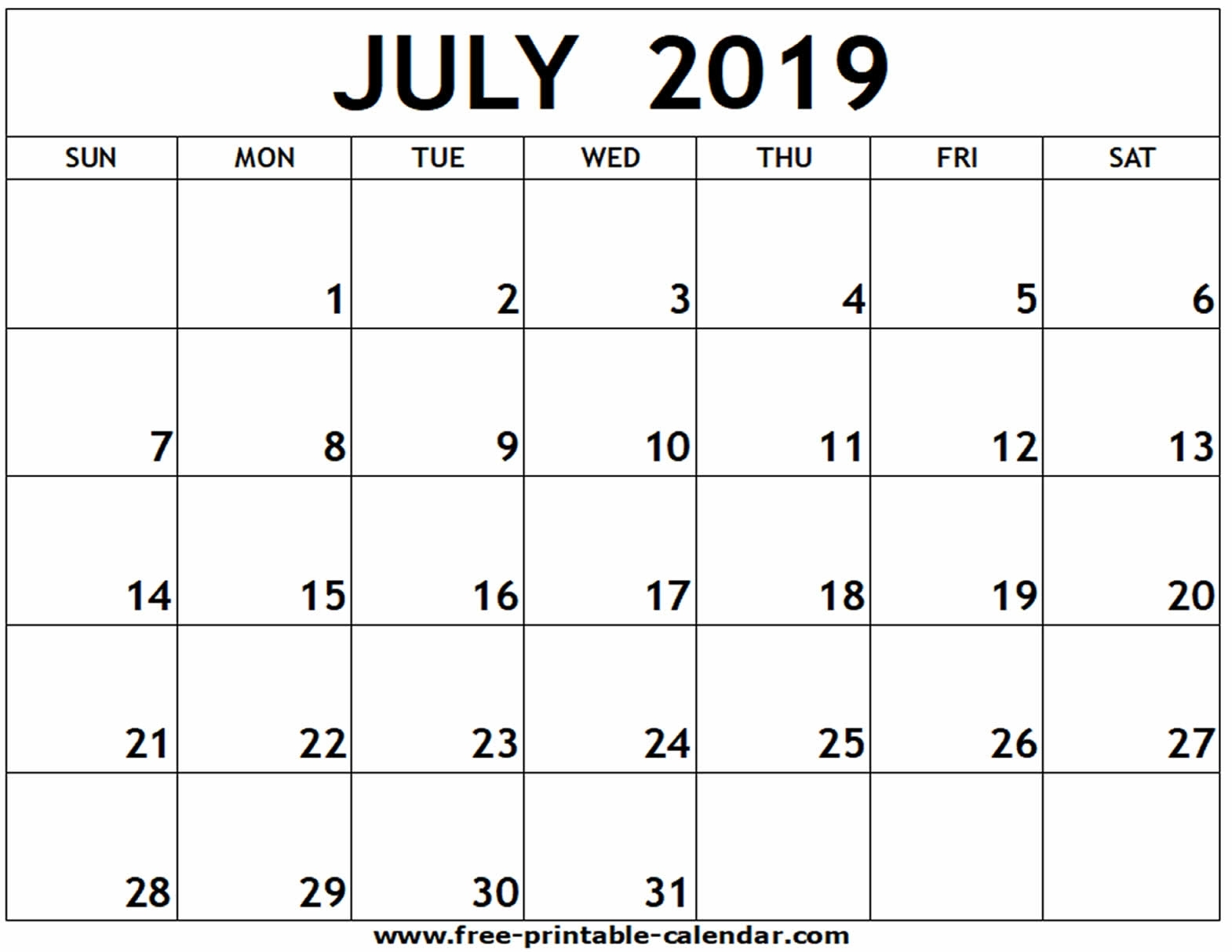 July 2019 Printable Calendar - Free-Printable-Calendar pertaining to June And July Printable Calendars