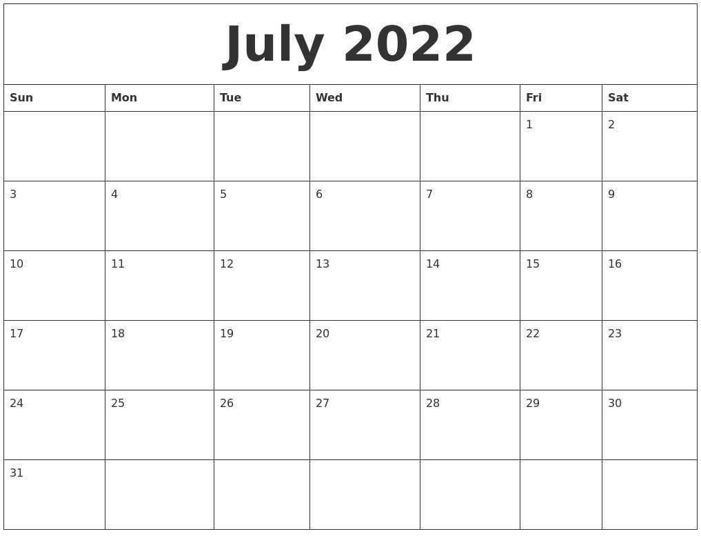 July 2022 Printable Calendar Template with July Printable Calendar With Hours