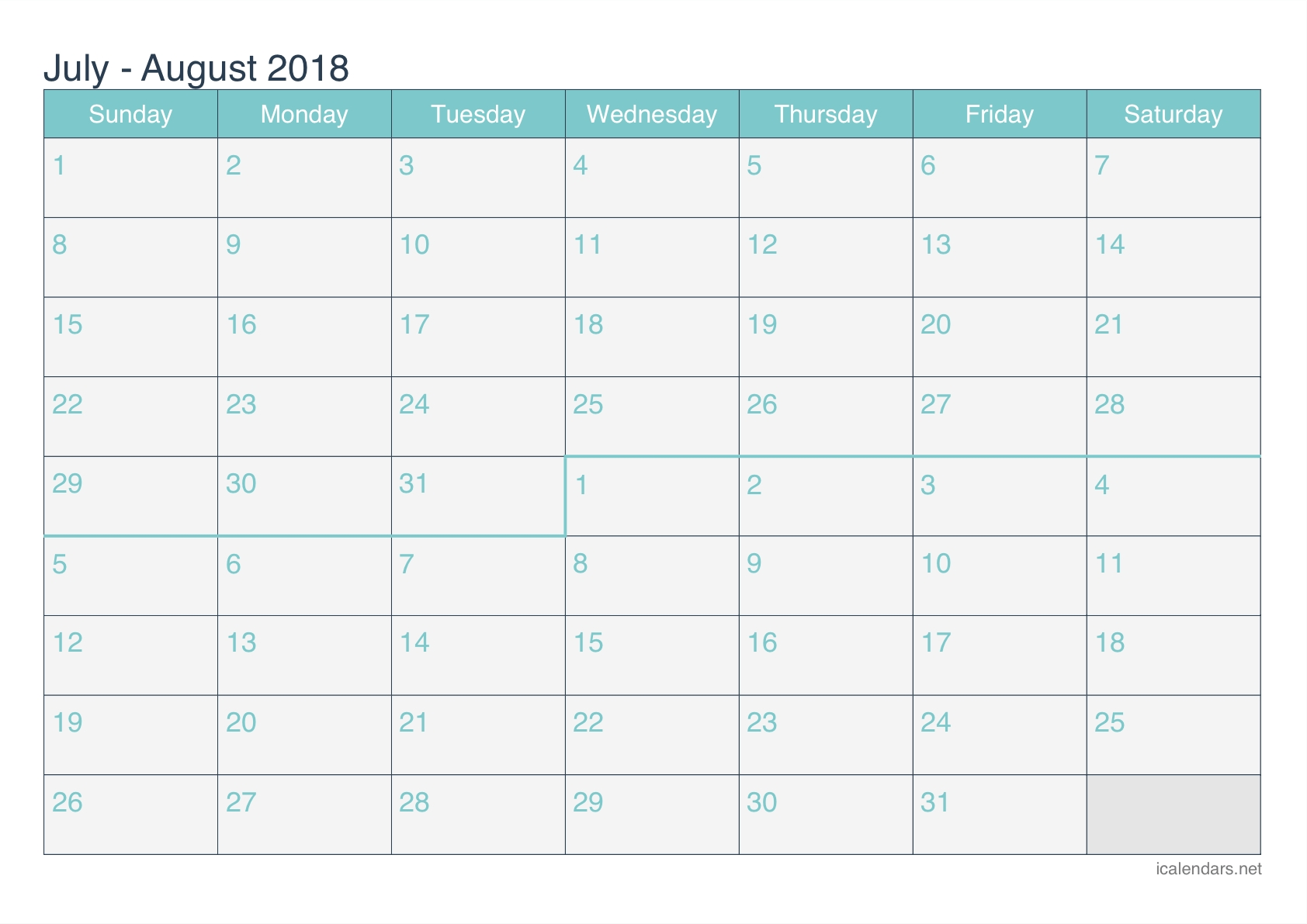 July And August 2018 Printable Calendar - Icalendars inside July And August Blank Calendar